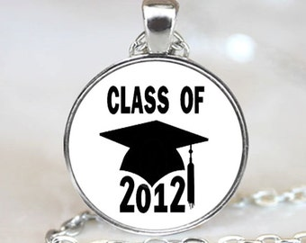 Class of 2012 Graduation  Pendant,  Photo Necklace, Silver Plated, (PD0193)