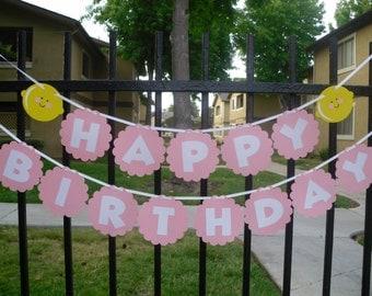Pink Lemonade Happy Birthday Banner