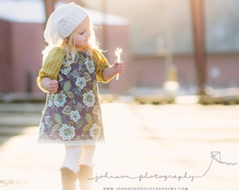 PlumLily / Girls 3/4 Sleeve Tunic Dress / Blue Grey Floral with Chartruese Sleeves / 6 months - 4T