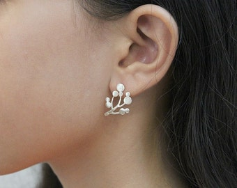 Tree-of-life Stud leaf earrings Flower jewelry for wife Floral jewelry mom Everyday earrings Girlfriend earrings gift Nature earrings gift