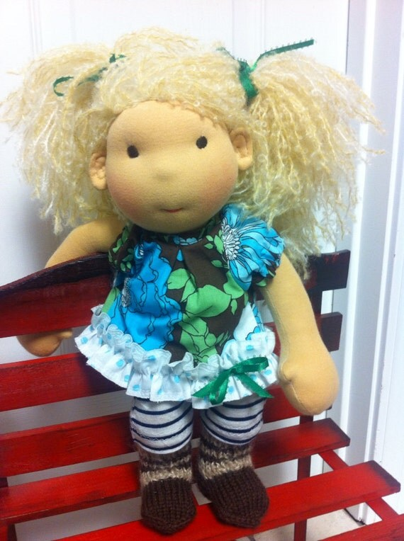 "New Handmade Waldorf doll 13"" tall"