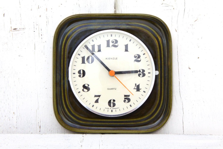 kienzle ceramic wall clock green west german pottery mid