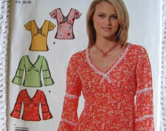 Simplicity Misses Summer Pullover Top Shirt Pattern 4823  Size 8 10 12 14 16  18 UC FF Uncut