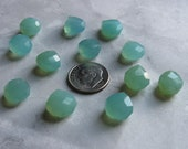 Aqua Faceted Chalcedony Heart Gemstones