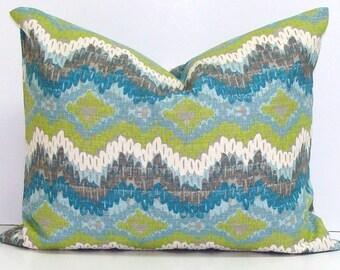 BLUE PILLOW.16x20, 12x20, 16x24.Pillow Cover.Decorative Pillows.Gray.Chevron.Green.Blue.Cm.Zig.Grey.Housewares.Home Decor.Cushion.cm.Green