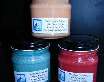 Three 8 oz Mason Jar Soy Candles You Pick Fragrances