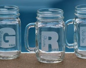 15 Custom Engraved Mason Jars with handle, Groomsman Gifts, Wedding Party Gifts, Etched Mason Jar, Bachelor Party Gifts