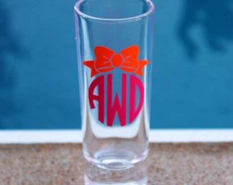 1 Personalized Monogrammed Shot Glass with Bow Monogram - Great Bridesmaid/Bachelorette Gift