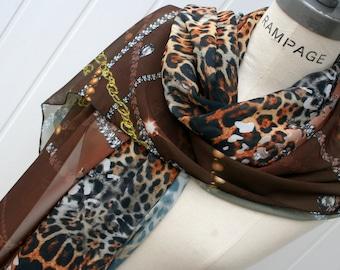 brown infinity scarves Animal print, Leopard print Scarf, womens Scarves Scarfs, Brown scarf, summer Fashion - By PiYOYO