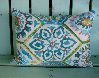 "12"" X 16""  lumbar turquoise,green,coral, blue outdoor designer fabric - decorative pillow cover-throw pillow-accent pillow"
