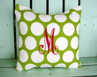 """18"""" X 18"""" green, white polka dot large initial monogram-Christmas pillow -Decorative pillow cover-gifts under 30-throw pillow-accent pillow"""
