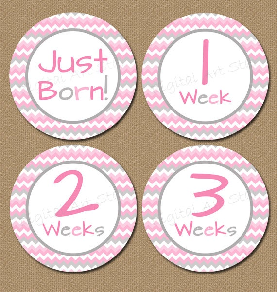 photo regarding Baby Month Stickers Printable referred to as Prompt Down load Youngster Thirty day period Stickers Chevron Printable