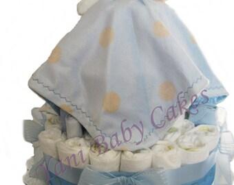 Unique Baby Shower Centerpiece / SALE / Teddy Bear Blanket Blue Baby Diaper Cake/ Baby Shower Gift & Unique Baby Gift
