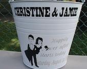 Galvanized Metal Bride & Groom Wedding Gift Bucket / Basket