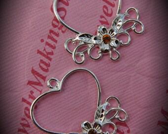 Genuine Silver Plated Swarovski Crystal Heart Chandelier Earrings In Topaz