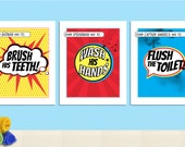 Superhero Children's Bathroom Art Prints - Set of 3 - DIY Printable Instant Download