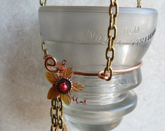 Hanging Candleholder or Vase Created from a Vintage Clear Glass Insulator