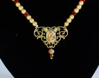 Victorian Style Necklace With Fabulous Center Stone