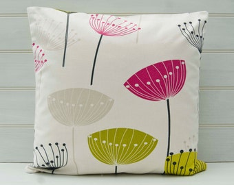 Seed Head  Cushion Cover -  Pink Green 16ins/40cm  Retro Style Fifties 1950's - Made in the UK