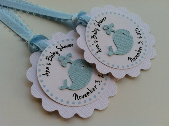 personalized favor tag with satin ribbon birthday or baby shower