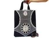 Denim Canvas Tote Bag- ON SALE- Medium- Lace Tote Bag- Navy Blue- Denim Bag- Denim Lace bag- Denim Laptop Bag- Natural Bag- Shopping bag