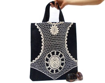 Denim Canvas Tote Bag- ON SALE- Medium- Lace Tote Bag- Navy Blue- Denim Bag- Denim Lace bag- Denim Laptop Bag- Natural Bag- Shopping bag