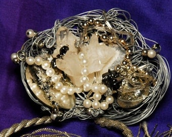 OOAK Fantasy Crystal Cluster Silver Color Mirrored Pendant