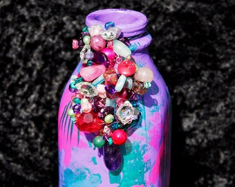 OOAK Milk Bottle Impressionistic Monet Colors Vase Bead Accented