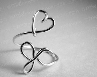 Christian Ring - Christian Jewelry - Faith Jewelry - Jesus - Heart JC - Love Jesus - Sterling Silver - 925 - Wire Wrapped - Adjustable Ring