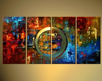 "60"" x 30"" Modern Abstract Acrylic Painting Large Original Colorful Textured Painting on Canvas - by Osnat - MADE-TO-ORDER - 60""x30"""