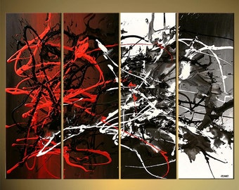 """Modern Abstract Painting, Original Abstract Art Black White Red Gray Textured Acrylic Painting by Osnat - MADE-TO-ORDER - 48""""x36"""""""