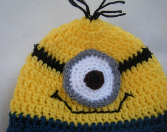 One Eyed Minion Baby Beanie - MADE TO ORDER -  Handmade By Me