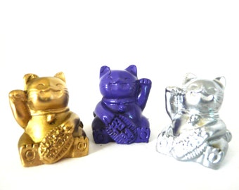 miniature lucky cat figurines, lucky cats, asian, pop art, metallic gold, purple, silver, glam