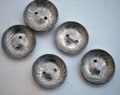 Handmade aluminum flower buttons- art nouveau iris pattern aluminum buttons - Large Art Nouveau aluminum buttons - x8