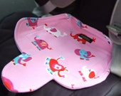 Waterproof car seat and buggy protector potty training pad, easy wash pink nellie elephants