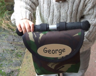 Personalised Child's Camouflage Print Handlebar Bag by Suzielou textiles, scooter bag, bike bag