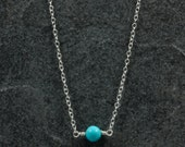 Turquoise Bead Necklace with Sterling Silver Chain