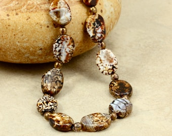 Agate and Glass Bead Necklace, Strand Necklace, Chocolate Crackle Agate, Copper Glass Beads