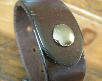Mens Dark Brown Leather Cuff Distressed Faded Texture Tough Bracelet with Snap BRN-51-2
