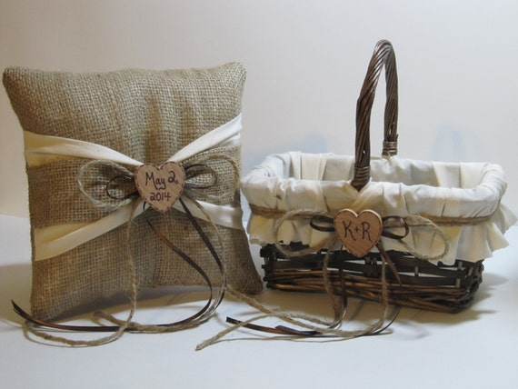 Flower girl baskets personalised : Personalized rustic flower girl basket and ring bearer pillow