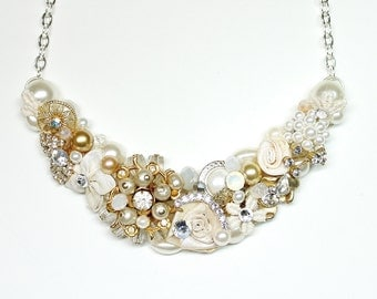 Gold Bridal Statement necklace- Gold and Ivory bib necklace- Wedding Necklace-Pearl and rhinestone necklace- Bridesmaid Necklace- Bridal Bib