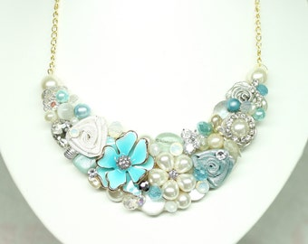 Aqua Bridal Bib- Aqua Bridal Necklace- Wedding Necklace- Aqua Pearl necklace- Aqua Blue Necklace-Bridal Statement Necklace- Aqua Wedding Bib