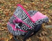 Zebra and Dots Hot Pink Minky baby car seat cover infant seat cover slip cover Graco