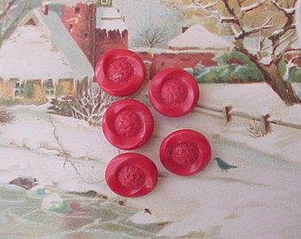 5 Pretty 1950's Hard Plastic Buttons in Cherry Red