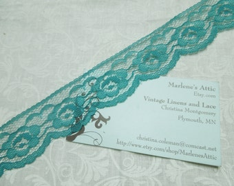 1 yard of 1 1/4 inch Teal Green chantilly lace trim for bridal, baby, lingerie, home decor by MarlenesAttic - Item BB8