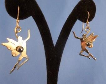 Silver tone Faires Pierced Earrings.