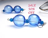 SALE 50% OFF - bubble earrings blue hollow glass - hollow glass beads