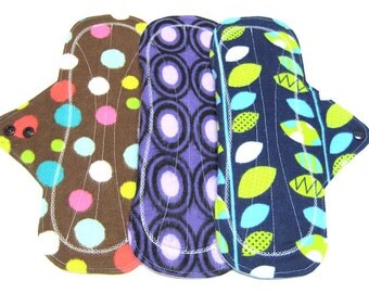 "NEW 10"" Reusable Mama Cloth Pads / Menstrual Pads / Incontinence Pads - Set of 3 - Customize Your Flow Level, Fabrics and Backing"