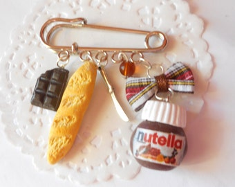 """Nutella inspired - """"hazelnut cream"""" and baguette bag charm pin brooch - handmade miniature polymer clay food jewelry"""