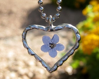 Real Forget Me Not Necklace, Heart Pendant